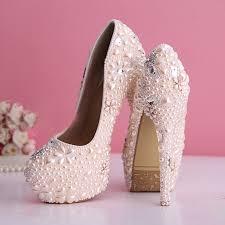 Light Pink Wedding Shoes Aliexpress Com Buy Gorgeous Pearl Wedding Dress Shoes Rhinestone