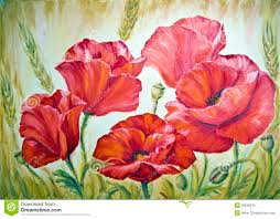 poppies oil painting on canvas royalty free stock photo image