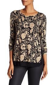 lucky brand black u0026 nigori floral print sweater nordstrom rack