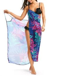 tropical leaf cover up slip dress colormix s dresses