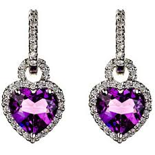 heart shaped diamond earrings perl heart shaped amethyst diamond earring enhancers