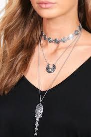 choker necklace layered images Layered boho choker necklace boohoo