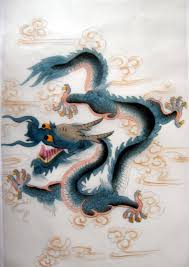 Feng Shui Painting Feng Shui Chinese Blue Dragon Silk Painting