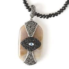 crystal necklace designs images Evil eye aghate pendant crystal necklace mannaz designs jpg