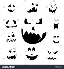vector illustration scary halloween pumpkin faces vectores en