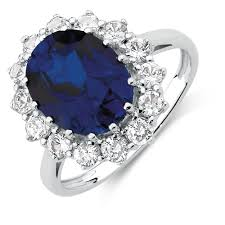 sapphires rings images Ring with created blue created white sapphires in sterling silver jpg