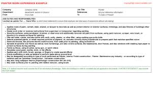Painter Resume Template Painter Job Title Docs