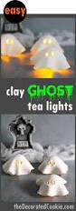air dry clay ghost tea lights fun and easy halloween decor idea