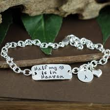 personalized remembrance jewelry half my heart is in heaven bracelet jewelry for personalized