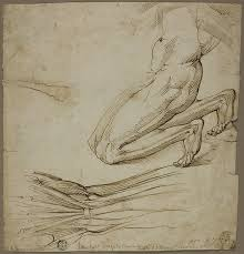 anatomical study and sketch of kneeling figure the art institute