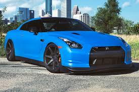 Nissan Gtr Matte Black - azure blue nissan gt r with 20 inch vossen wheels three quarter