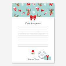 christmas letter from santa claus template stock illustration