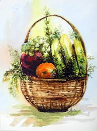 basket fruit fruit basket painting by anju saran