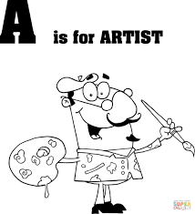 letter a is for artist coloring page printable pages letter page