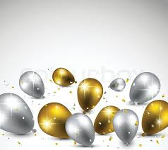 silver balloons celebration background with golden and silver balloons vector