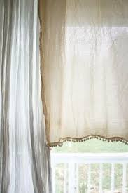 bordered linen half height curtains in bathrooms soft