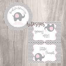 elephant favor tags and treat bag toppers grey and pink