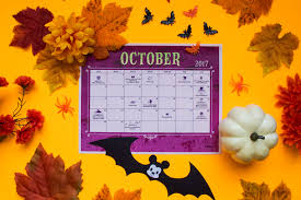 Printable Halloween Calendar October 2017 Printable Calendar Disney Family
