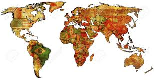 Morocco On World Map by Old Political Map Of World With Flag Of Brazil Stock Photo