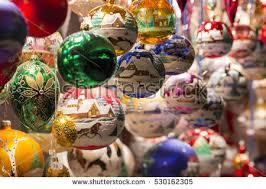 beautiful handmade tree balls decorations stock photo