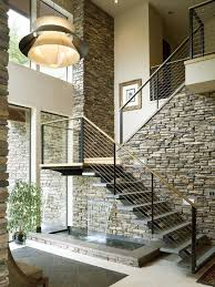 Stone Banister Contemporary Staircase With Flush Light U0026 Travertine Tile Floors