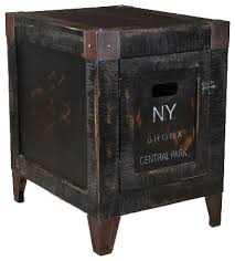 Storage End Table Wood Graffiti Storage End Table Industrial Side Tables And End
