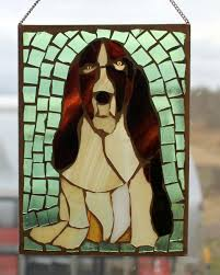 stained glass puppy beagel stained glass mosaic dog wall art