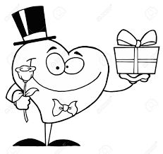 black and white coloring page outline of a heart giving a present