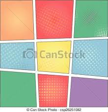 vector of vector colorful template of comic book page with rays