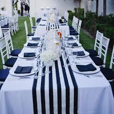 black and white table settings table setting runner black white stripe confettievents