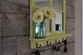 rustic country chic antique bronze key hook mirror with shelf