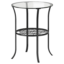 round glass side table with metal frame and base added y