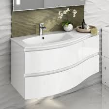 high gloss bathroom cabinets white with traditional floor tile