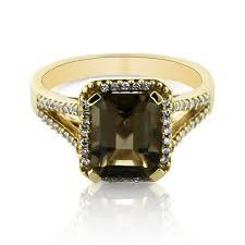 topaz engagement ring emerald cut smokey topaz split shank diamond ring in 14k yellow gold