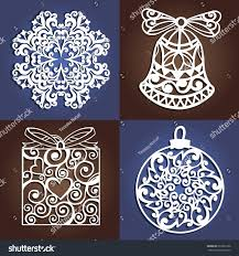 set openwork christmas decorations laser cutting stock vector