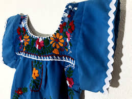 mexican baby dress embroidered blue fiesta flower toddler
