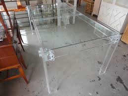 Clear Dining Room Table Funiture Clear Acrylic Furniture In Rectangle Shape And Wooden