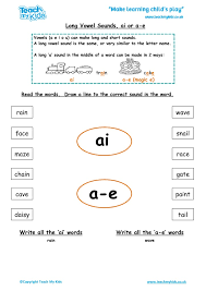 long vowel sounds ai or a e tmk education