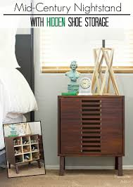 pneumatic addict mid century nightstand with hidden shoe storage