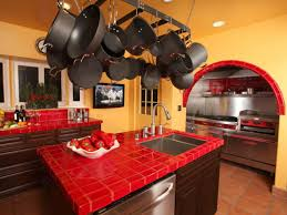 Red Tiles For Kitchen Backsplash Mexican Kitchen Designed With Orange Wall Colors And Red Ceramic