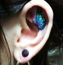 55 ear tattoos butterfly and tatting
