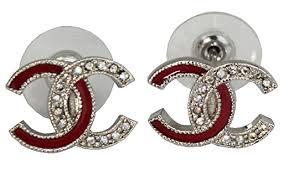 cc earrings chanel cc logos pierced earrings w rhinestone a97531