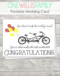bicycle wedding congratulations card with quote wedding card
