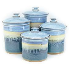 Pottery Kitchen Canisters Little E Pottery Canister Sets