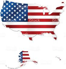 Big American Flags Usa And Hawaii Flag Map On White Background Stock Vector Art