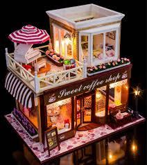 sweet coffee shop france style diy doll house 3d miniature light