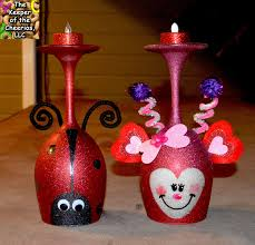 love bug and lady bug wine glass candle holders