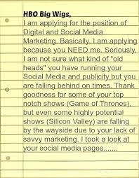 epic cover letter ever hbo cover letter for social media job opening