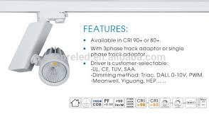 Dimmable Led Track Lighting Cri90 3 Wires Dimming Led Cob Illuma Track Lighting With Ul Listed