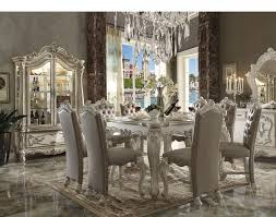 acme counter height dining set versailles collection in bone white